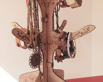 Jewellery tree laser cut to order. Decorative stand for necklace, bracelet, bangle, watches, keyrings,rings. Market stall, trader, Bedroom