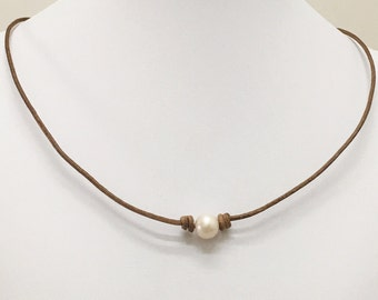 Freshwater Pearl Leather Necklace,8mm-9mm Pearl Necklace,Natural Brown Leather Pearl Necklace,Gift for Her
