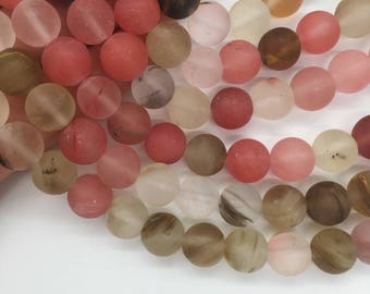 1Full Strand Matte Quartz Cherry Round Beads, Wholesale 6mm 8mm 10mm Fire Cherry Quartz Gemstone For Jewelry Making