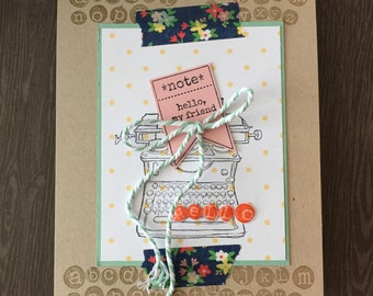 Hello Friend Card, Typewriter Card, Hi Card, Handmade Greeting Card, Stampin' Up! Card