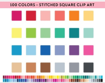 100 Stitched scalloped square Clipart, Commercial use, PNG,  Digital clip art, Digital images, Rainbow digital scrapbooking clip art