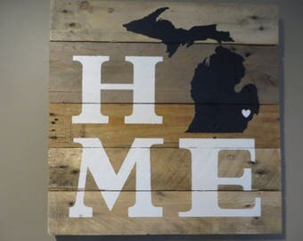 "Michigan Home Pallet Wood Sign - Pallet Wood Sign 20"" X 20"""