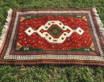 "Persian Hand-Knotted Ghoochuan Rug (Terracotta, Cream, Green) 160cm x 120cm (5'2"" x 3'9"")"