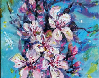 "Original Acrylic Painting, Cherry Flower in Spring, 16""x12"", 1701133"