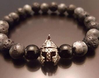 Spartan race bracelet onyx lave black lava gift for him cadeau mari frère homme