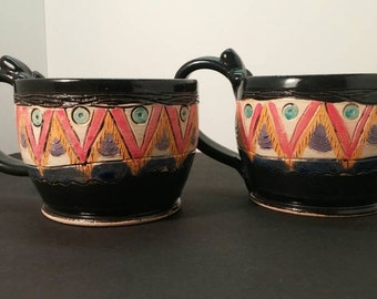 Midnight Boho stoneware coffee mug set of 2