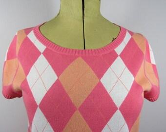 Vintage Ladies ARGYLE Short Sleeved JUMPER-Uk 8/10
