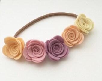 Floral Felt Headbands - Spring bloom headband - boho baby headband