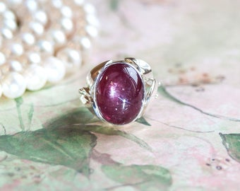 Ruby Jewelry, Ruby Ring, Transparent Cabochon Ruby, Natural Red Ruby, Sterling Silver Ring, Natural Gemstone, Handmade Ring.