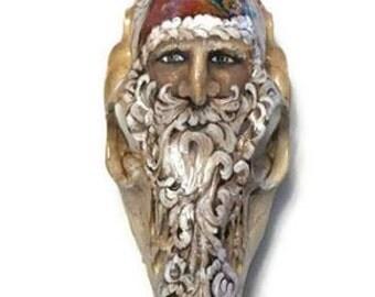 Vintage style Santa painted deer skull - Old World Santa - Vintage deer skull -  Rustic Santa - Painted skull - Santa skull - Deer Skull