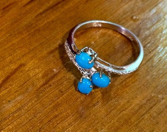 Turquoise Cluster Sterling Silver Ring