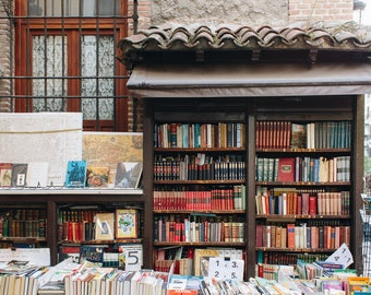 Books, Library, Madrid, Spain, Market, Fine Art, Quirky, Literary, Travel, Wall Art, Fine Art, Print, Photograph