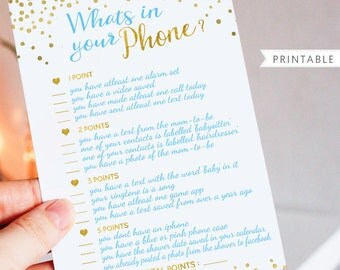 Whats In Your Phone Baby Shower Game - Blue and Gold Foil Printable Game - Printable Baby Shower Game - Instant Download - BSG5