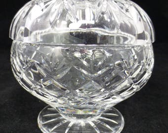 Lead Crystal Cut Glass Footed Bowl with Lid - 4 inch / 10 cm diameter - High Quality