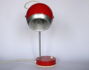 Mid century  adjustable eyeball table lamp / deep red