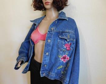 VTG oversized floral denim jacket