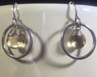 Sterling and lemon quartz drop earrings