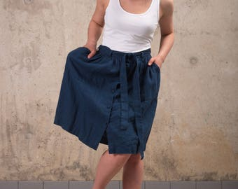 Womens Linen skirt - Washed linen A line skirt with belt - Midi linen skirt - High waist linen skirt - Natural linen skirt