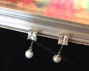 Cubic zirconia pearl earring, customize clip earrings, non-pierced earrings, Bride Clip Earrings, squre cubic zirconia , hypoallergenic