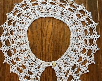 White Crochet Knit Collar Neckpiece