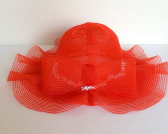 1970s Red Net Hat with Flower Detail Vintage