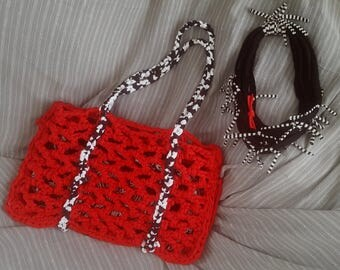 handbag, shopper, upcycling material, different colours, different styles, also set with neckless,