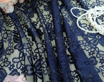 Navy Blue Lace Fabric Navy Lace For Handmade Floral Lace Wedding Navy Lace Bridesmaid Lace Navy Lace For Making Clothes Craft