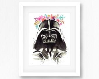 Darth Vader Water Color Floral Tumblr Hipster Decor Print