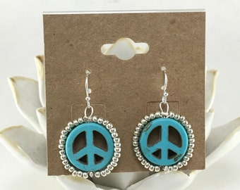 Embellished Turquoise Peace Sign Dangles