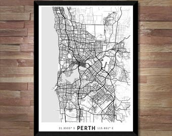 Every Road in Perth map art | High-res digital Australia map print | Perth print | Perth poster | Perth art wall map | Unique gift idea