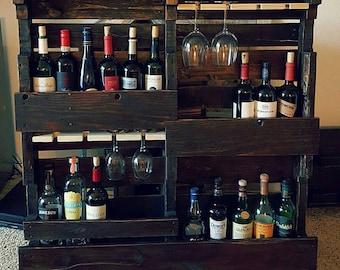 20  bottle/16 glass reclaimed wood wine rack