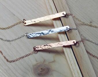 Hammered Bar Necklace, Gold Hammered Bar Necklace, Silver Hammered Bar Necklace, Rose Gold Hammered Bar Necklace, Dainty Necklace