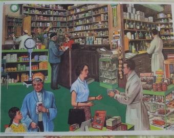 Wall decoration, Set of Table 42 x 30 cm, apothecary, apothecary, pharmacist, pharmacy, medicine, plants medicating, soft medicine