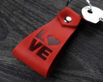 LOVE.Handmade. Leather keychain for men,women, keychain leather fob leather key ring leather.Anniversary Gift - Wedding Gifts for Couple