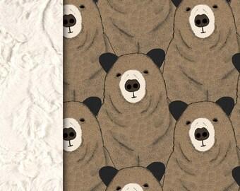 Baby minky blanket, brown bear blanket,  neutral gender blanket,  faux fur woodland blanket, adult throw blanket, baby shower gift, birth