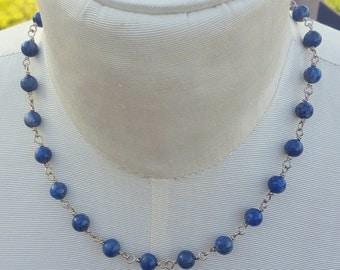 Lapis Blue Necklace - Lapis Lazuli Necklace - Lapis Lazuli Jewelry - Lapis Necklace - Lapis Jewelry - Dark Blue Necklace - Blue and Silver