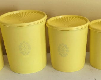 Vintage 1970's Tupperware Canister Set of 5 Yellow Made in USA