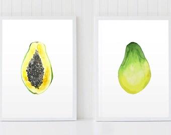 Fruits Set, Set of 2 prints, Papaya Set, Kitchen Wall Decor, Tropical Fruit, Fruits Watercolor, Botanical Set, Yellow Art, Fruits Poster