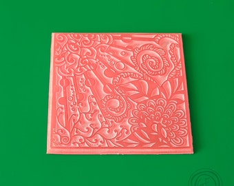 G.F.ArtTools Texture Stamp #4, Polymer Texture Matt, Polymer Clay Texture Plate, Impression Stamp, Flowers Texture Stamp