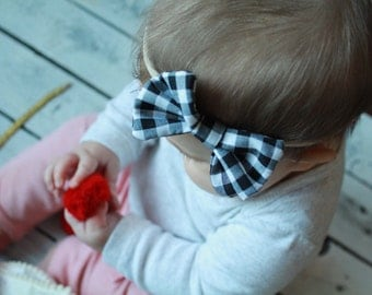 Gingham baby bows