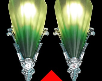 4 Antique Art Deco Chrome and Glass Green Tip 'Soleure' Slip Shade Sconce Set (Part three of the set)