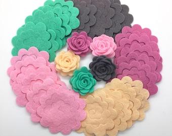 25 pcs Felt Flowers, Die Cut Felt Flowers, Felt Flower Set, Flower Die Cut, Wool Felt Flowers.