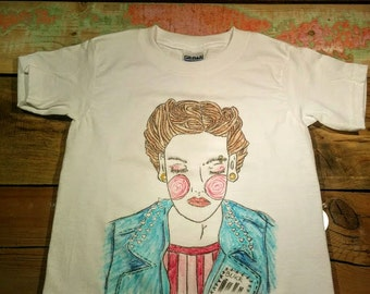T-shirt, t-shirt, hand, child, unisex, x-small, very small, unique, Freehand drawing, drawn woman punk, glam
