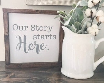 Our Story Starts Here Wood Sign With Frame - Wedding Gift