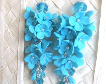Earrings with flowers,Flower earrings,Decoration with blue flowers,Turquoise earrings,handmade, polymer clay.