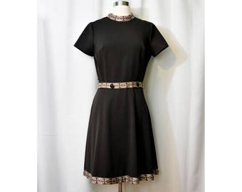 60 Brown Dress with Accent Trim and Matching Belt