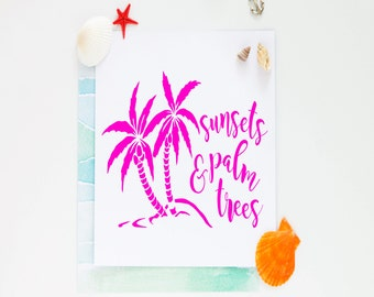 Sunsets and Palm Trees Vinyl Decal-Sunset Iron On Decal-Beach-Ocean-Car Decal-Water Bottle-Tumbler-Coffee Mug