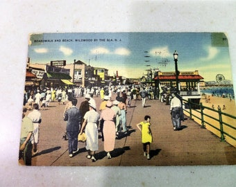 Vintage Post Card Wildwood By The Sea, NJ Boardwalk and Beach