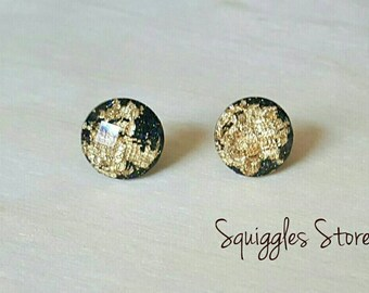 Black Gold Leaf Faceted Stud Earrings Hypoallergenic Posts Sensitive Ears