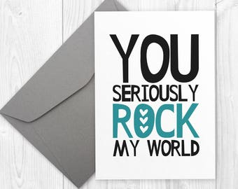 Birthday Card for Boyfriend - Printable Happy Birthday card for Girlfriend - You rock my world - Birthday Card for Husband - card for him